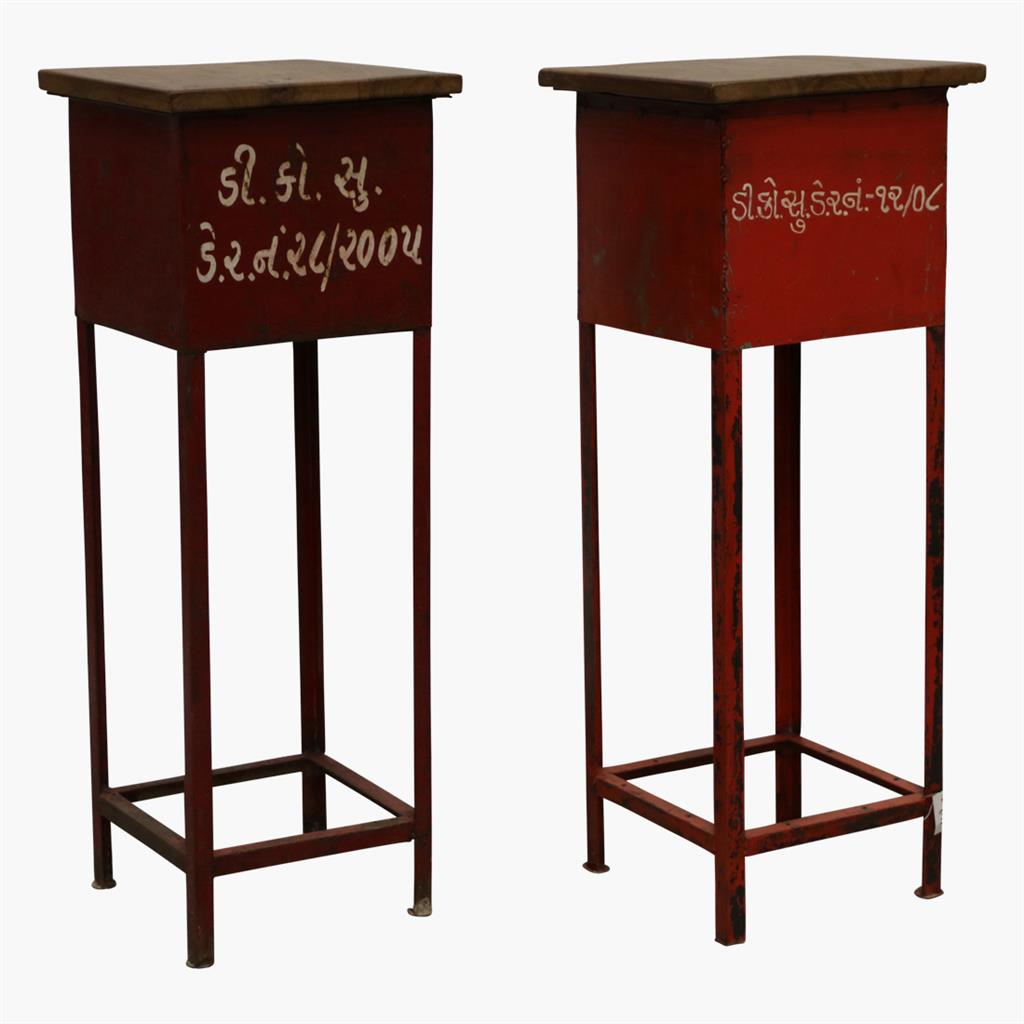 Red high iron plant stand + wooden top