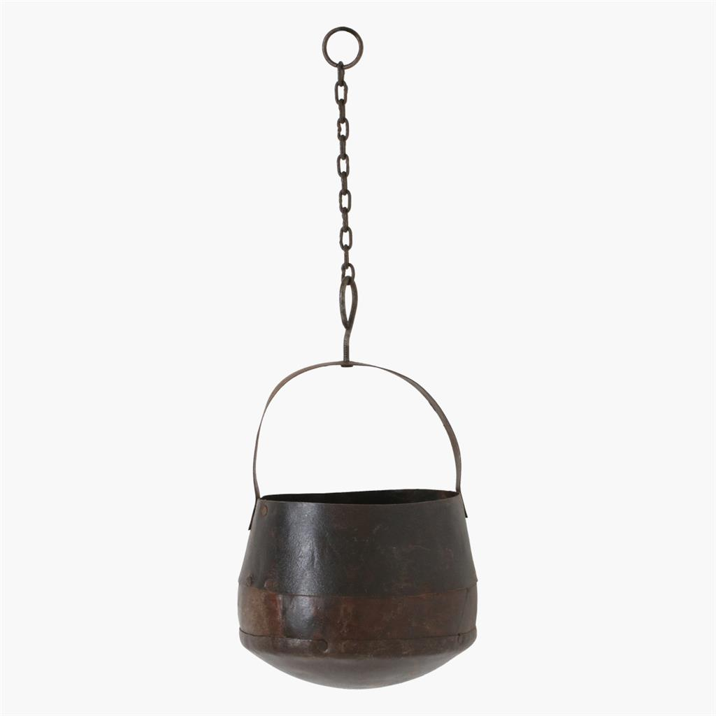 Metal hanging pot with chain small