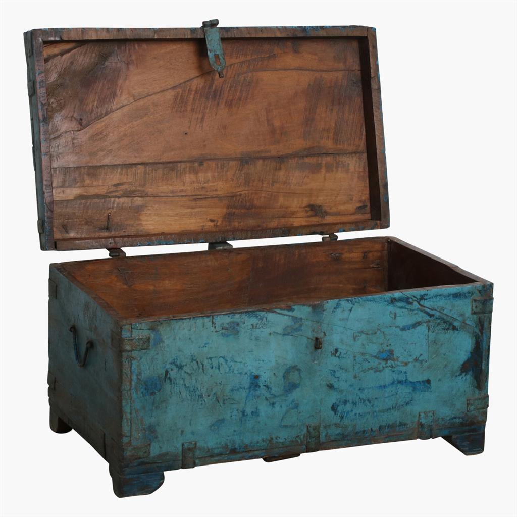 Blue teak chest iron corners & lock