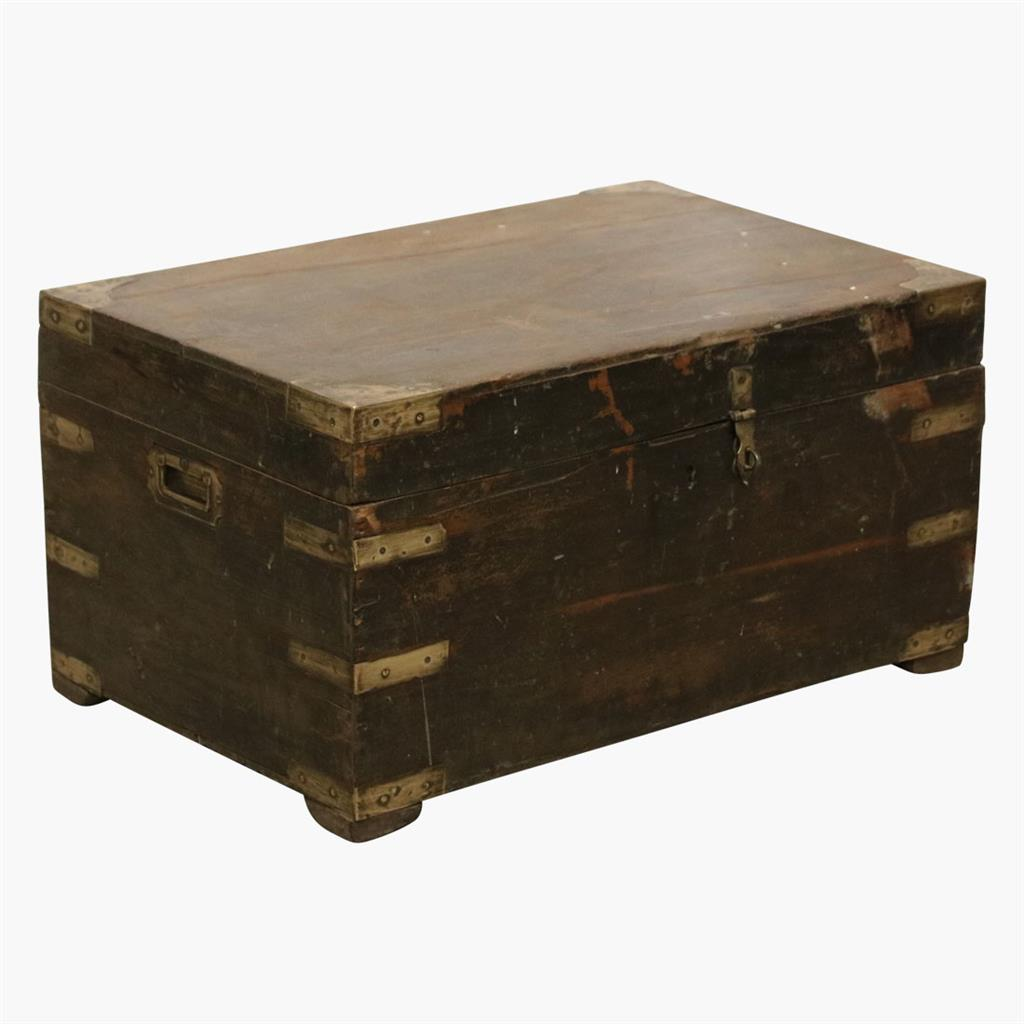 Dark teak chest with brass