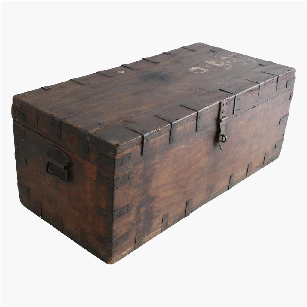 Teak long chest with iron hardware