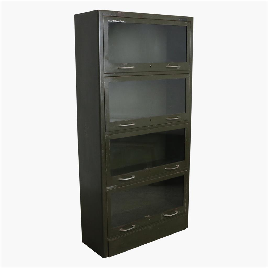 Army green iron 4 glass door cabinet