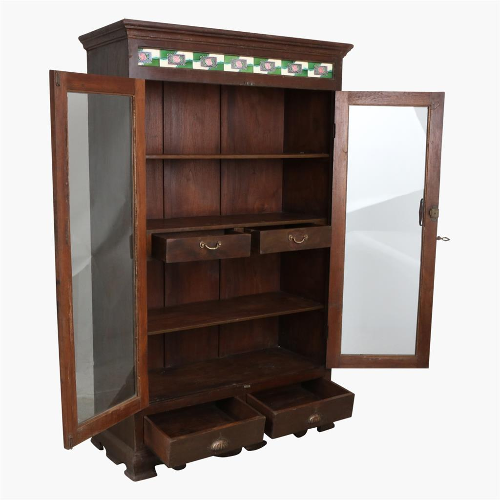 Teak 2 door glass cabinet + tiles
