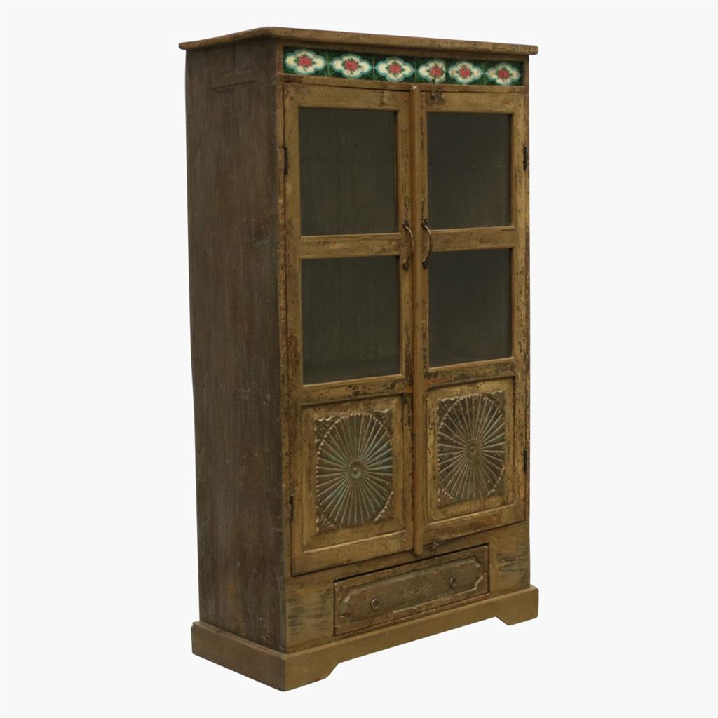 Taupe sunflower carved 2 door cabinet