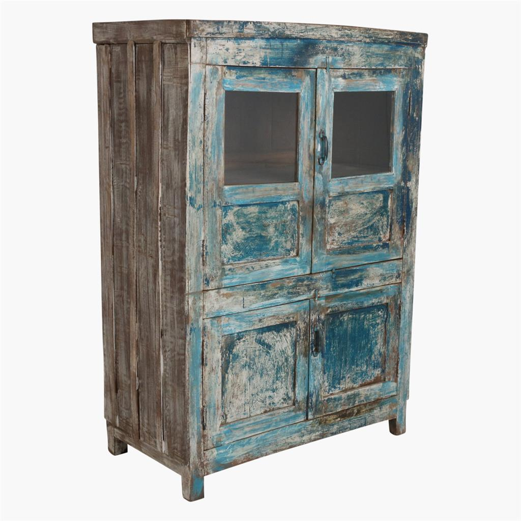 Blue & white mix 4 door cabinet