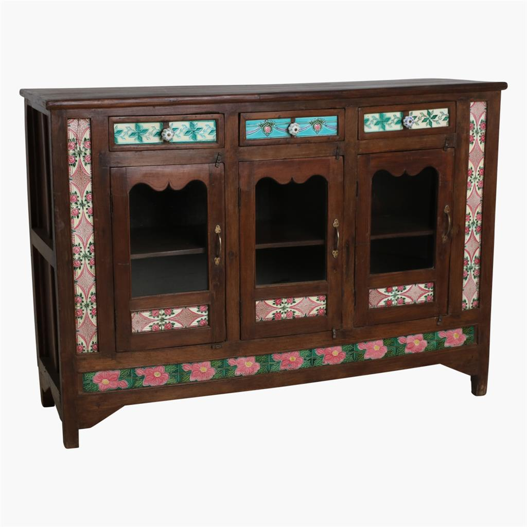 Teak tile commode 3-door 3-drawer