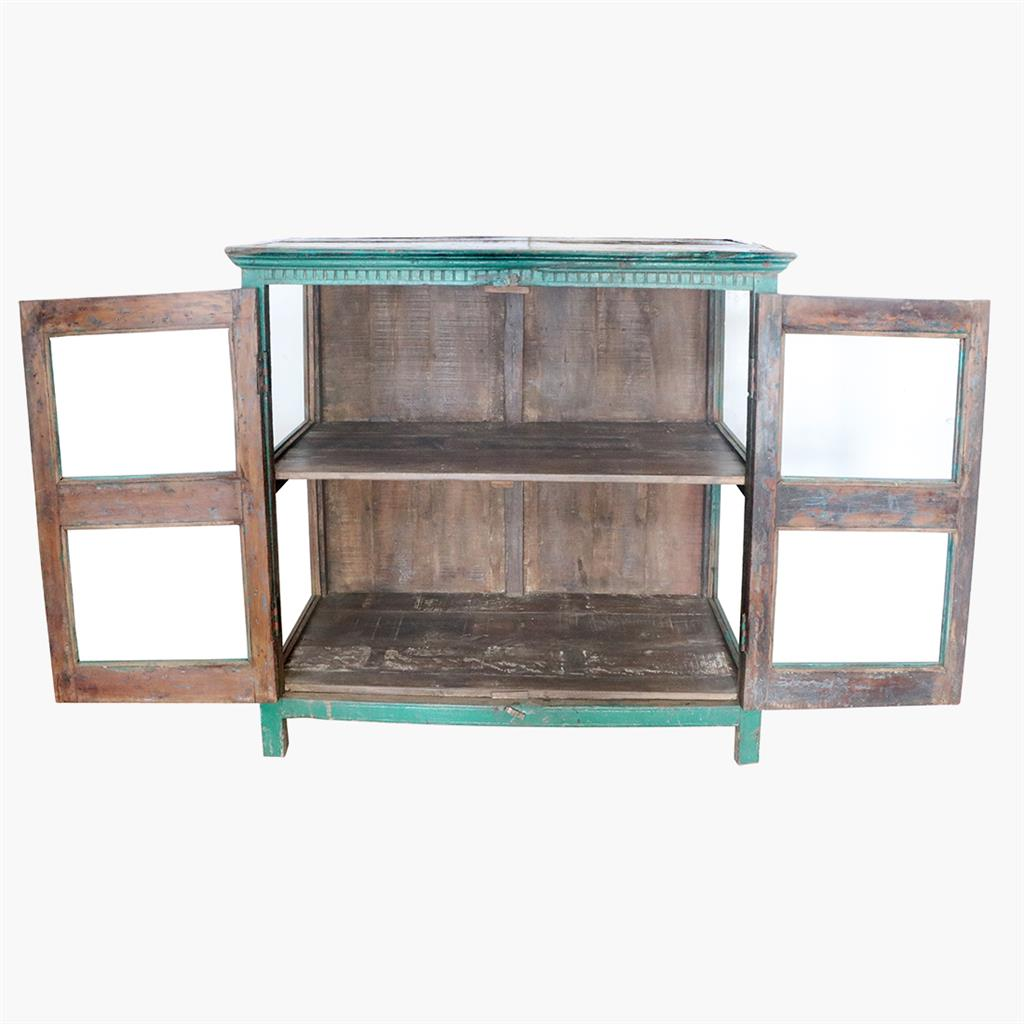 Green 3 sides glass sideboard