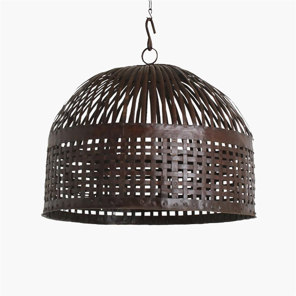 Iron basket lamp