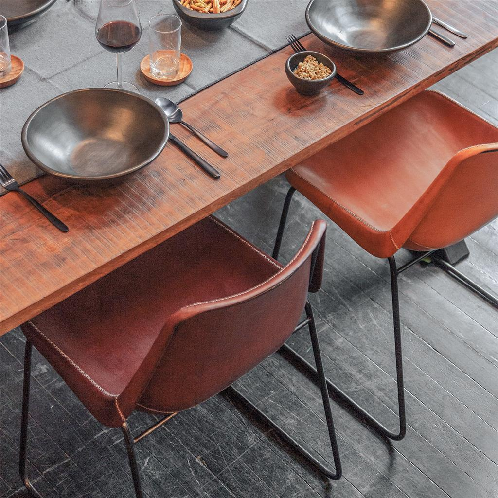 Sol Y Luna dining chair iron & brown leather