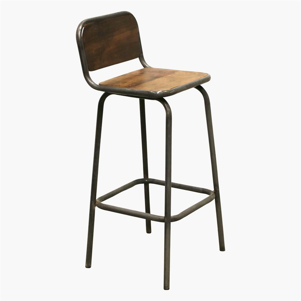 Factory / iron bar stool w. backrest