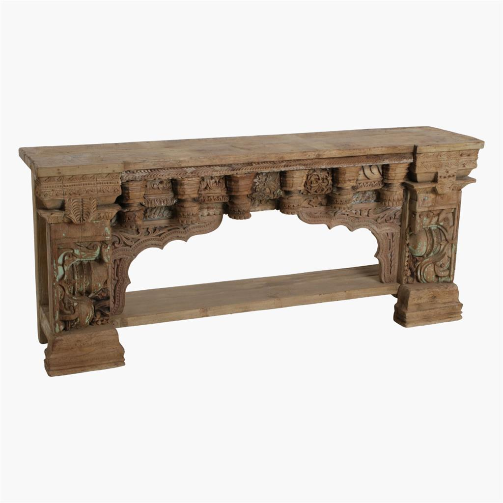 Full carved natural wash console