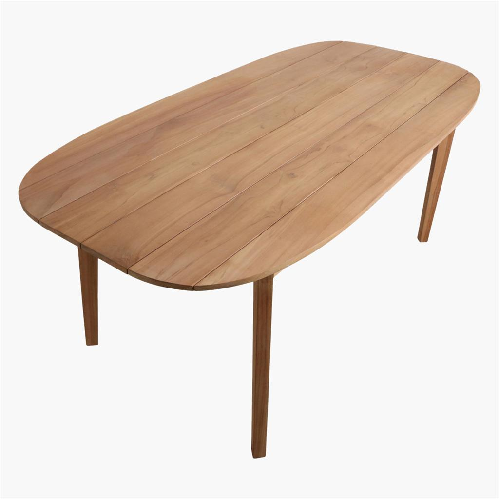 Teak outdoor oval dining table