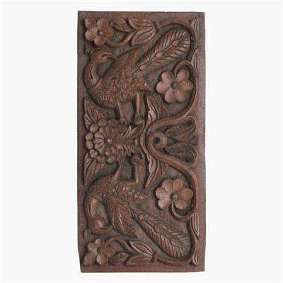 Hardwood carved peacock flower panel