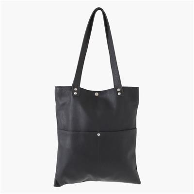 Leren shopper tas lang - Antraciet