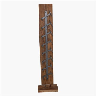 Wine stand 8 bottle teak beam