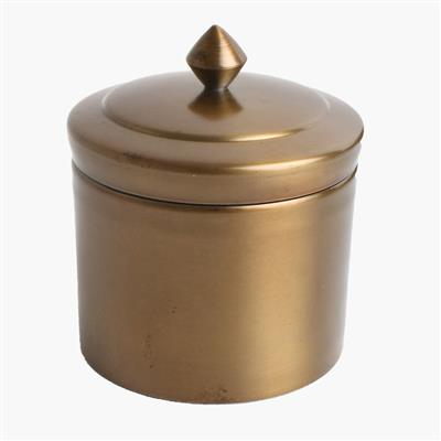 Round storage pot antique brass finish