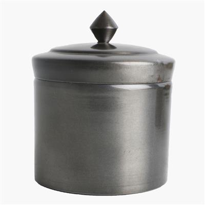 Round storage pot antique silver finish