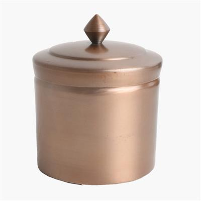 Round storage pot antique copper finish