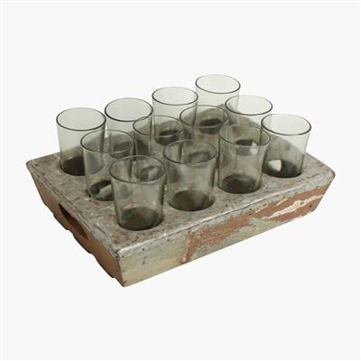 Scrapwood serving tray with 12 glasses