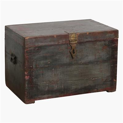 Grey/red chest with brass lock + special inside