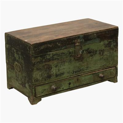 Green teak box + drawer