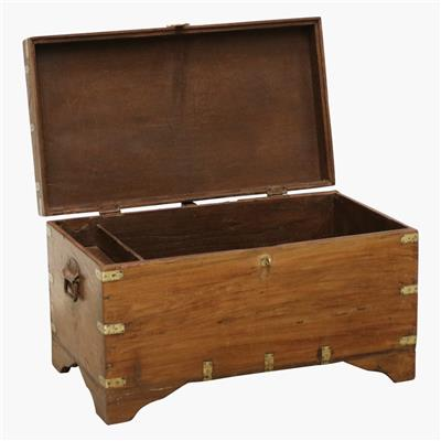 Teak south India chest + brass corners