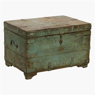 Green teak XL chest + iron