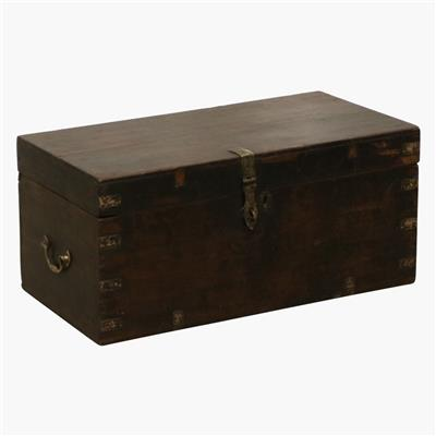 Dark teak full brass corners chest
