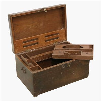 Teak travel chest full inside