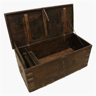 XL teak chest + iron lock