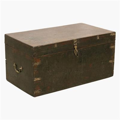 Dark teak chest + brass corners