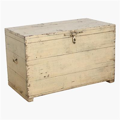 XXL cream teak chest + large lock
