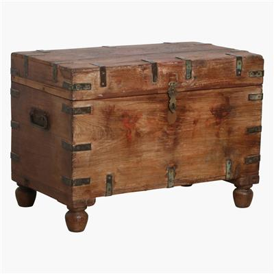 Teak natural chest with round legs