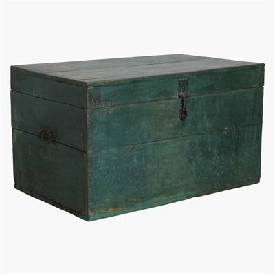 XL green teak chest