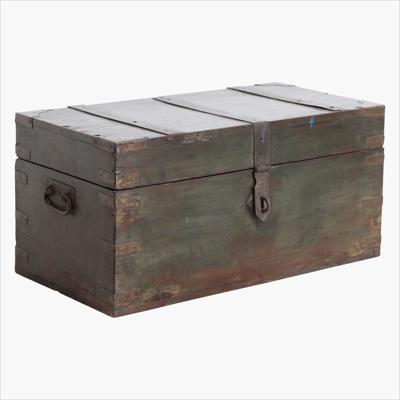 Dark green teak chest + iron hardware