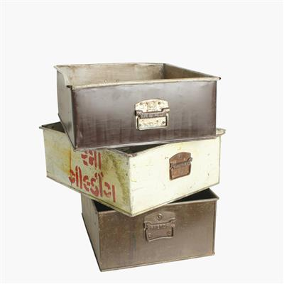Iron storage box with handles