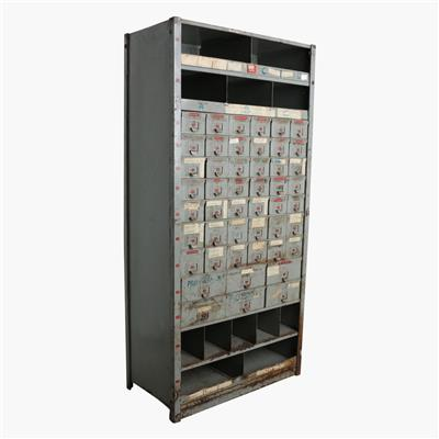 Iron hardware cabinet with drawer