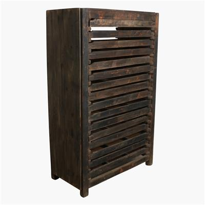 Teak 16 drawer printing press cabinet