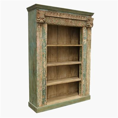 Blue & salmon carved open bookcase