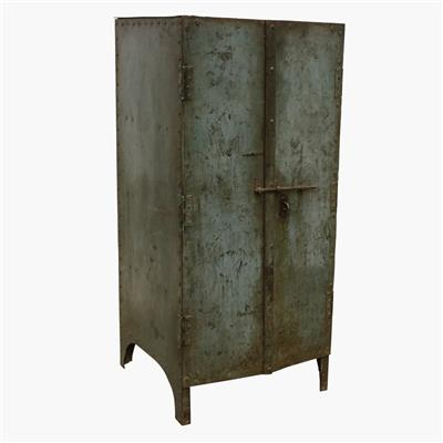 Blue ribbed iron 2 door industrial cabinet