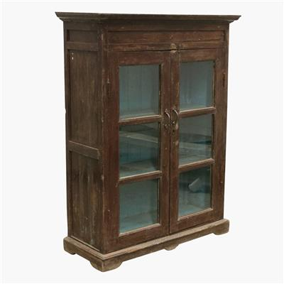 Dark teak moulding cabinet, blue inside