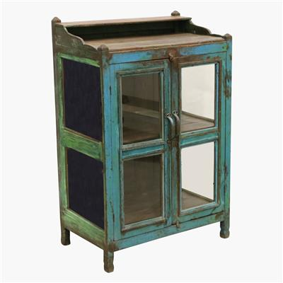 Blue & green 3 sides glass cabinet