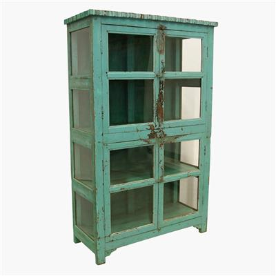 Green 4-door vitrine carved top