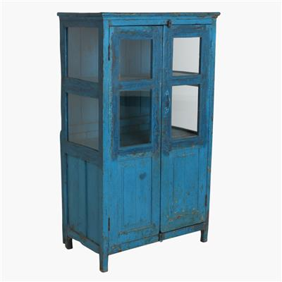 Blue tall cabinet + moulding cabinet