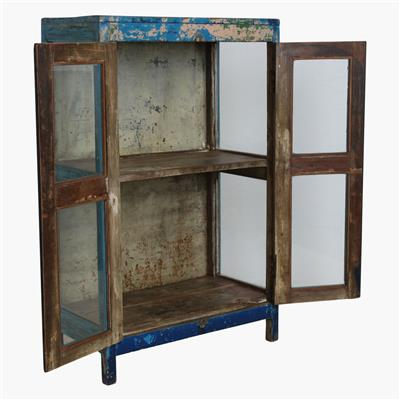 Blue mix 3 sides glass cabinet