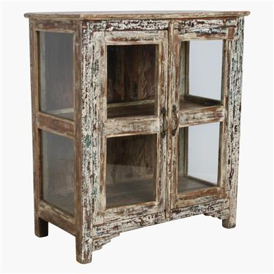 Cream mixed 3 sides glass cabinet
