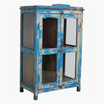 Blue & cream 3 sides glass cabinet