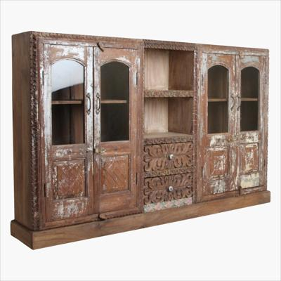 Unusual 4-door cabinet + open & carved middle