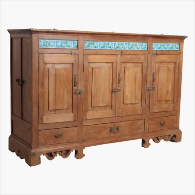 Sideboard with 4-door 3xdrawer + blue tiles
