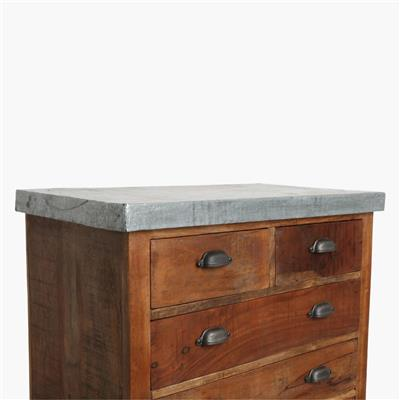 Factory 5-drawer sideboard zinc top